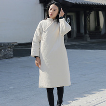 Parkas Cheongsam Chinese-Style Johnature Women Coats Long-Sleeve Vintage Solid-Color