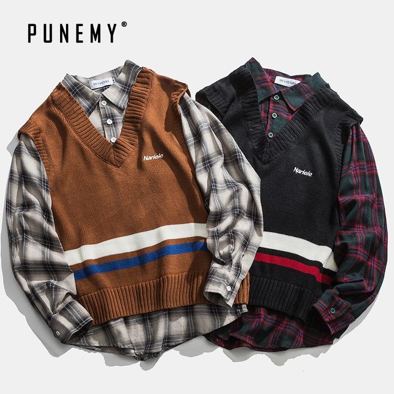 Men Sweaters Patchwork Shirts Retro Plaid Pattern Cotton Oversize Hip Hop Streetwear Harajuku Autumn New Men's Sweaters Shirts