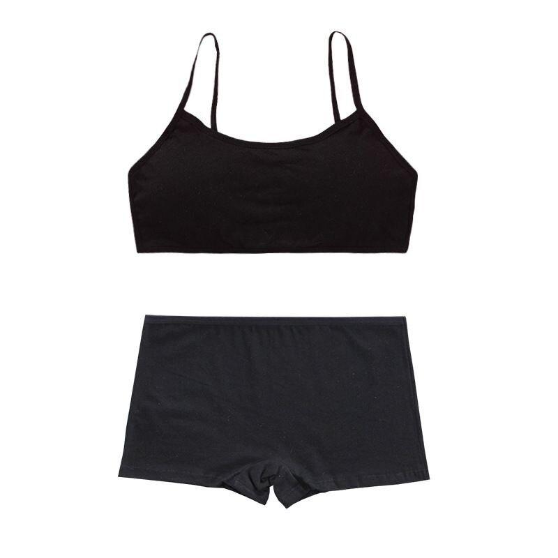 Cotton Bra Set Teens Training Bras Girls Underwear Set Teenagers Puberty  Wireless Bra+Underpants 3