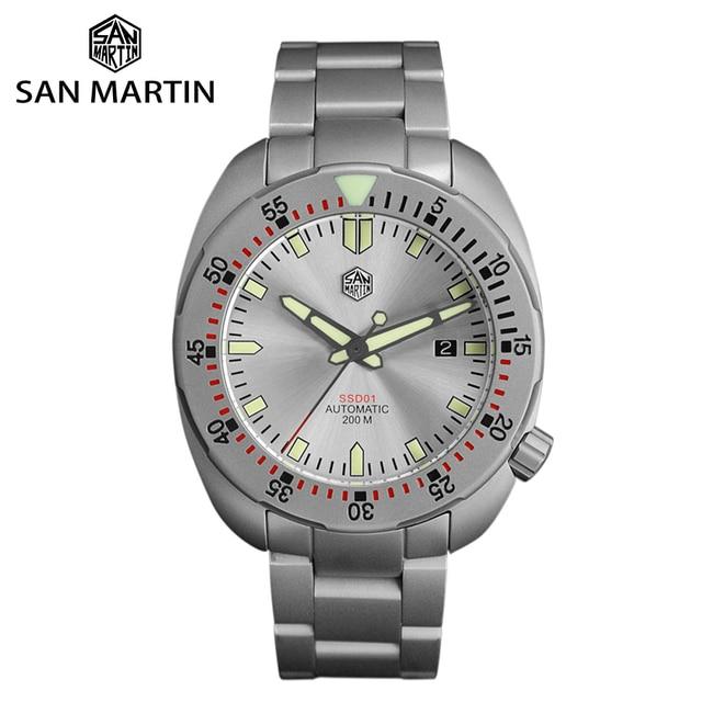 San Martin Bracelet métallique résistant à leau, sablage en acier inoxydable, sablage automatique, mécanique, saphir montre pour hommes lumineux