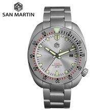 San Martin Diverสแตนเลสสตีลพ่นทรายอัตโนมัติผู้ชายนาฬิกาSapphire Luminousกันน้ำสร้อยข้อมือโลหะ