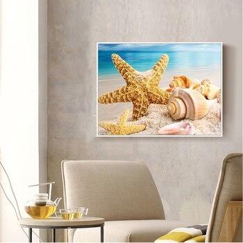 Huacan Diamond Painting Cross Stitch Sea Shell Starfish Scenery Home Decor Full Rhinestone Mosaic 5D