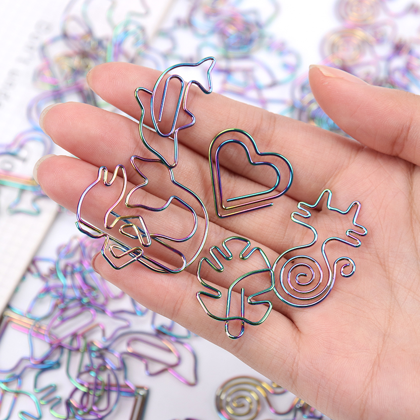 5 PCS Cute Paper Clips Metal Material Animal Shape Colored Office Information Classification Shaped Colorful Cartoon Paper Clips