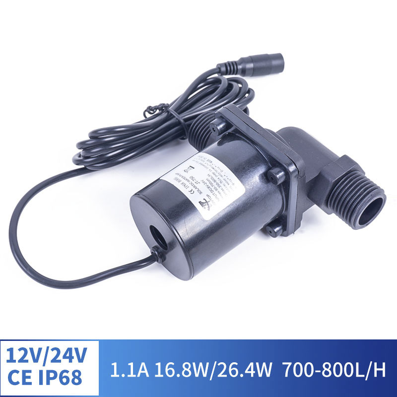 IP68 12V 24V 1.4A DC Brushless DC Water Pump Thread Solar Water Heater Shower Heating Booster Pump-20-100S °C