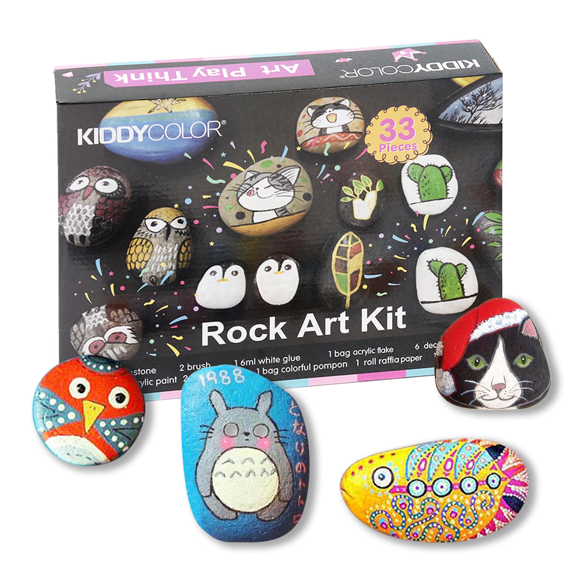 KIDDYCOLOR Rock Art Kit for Painting and Coloring DIY Art Set Creative Colorful Magic Stone Creative Gift for Art Supplies