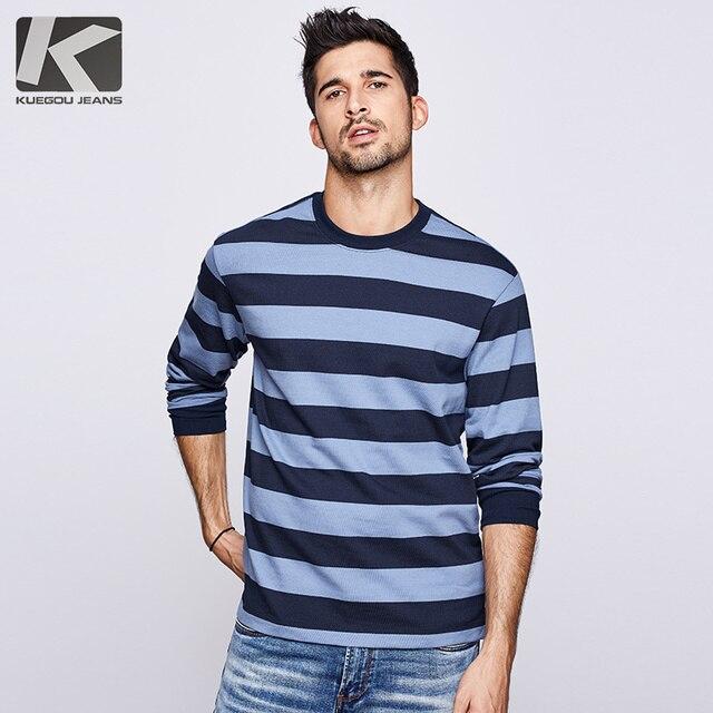 KUEGOU 2020 סתיו כותנה פסים כחול T חולצה גברים חולצת טי מותג חולצה ארוך שרוול חולצה אופנה בגדים חדש למעלה 1289