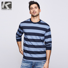 KUEGOU Camiseta de rayas azules de algodón para hombre, camiseta de marca para hombre, camiseta de manga larga, ropa para hombre, camiseta nueva 2020