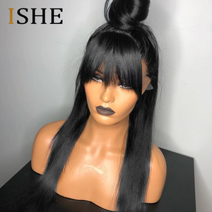 Image 2 - Bang Wig Human Hair 99J Bob Lace Front Wigs With Bangs For Black Women Ombre Human Hair Wig Pre Plucked Lace Wig Remy Hair ISHE