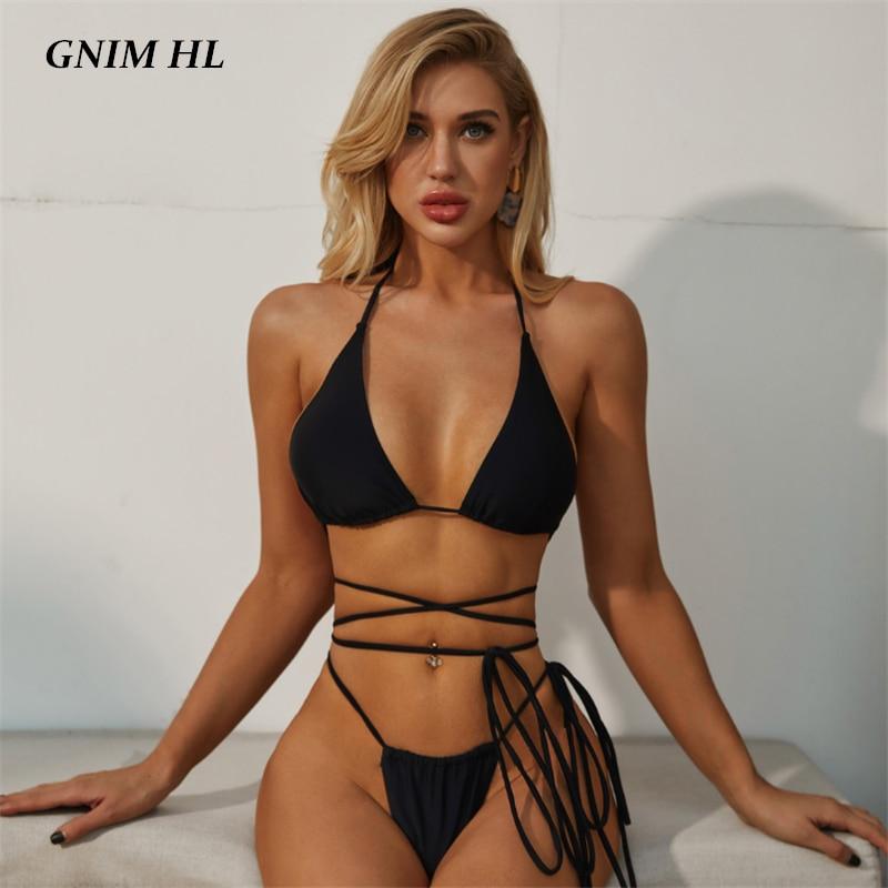 GNIM Solid Black Swimsuit Female Two Piece Bandage Bikini Mujer 2020 Sexy Backless Thong Swimwear Women Summer Beachwear Biquini
