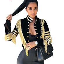 Adogirl Women Fashion Gold Tassel Jacket Buttons Stand Collar Long Sleeve Open S