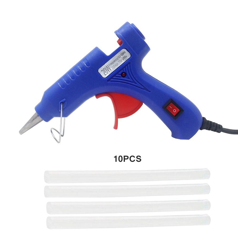 אקדח דבק להמיס בטמפרטורה גבוהה חם אקדח דבק 20W תיקון כלי חימום דבק אקדח האיחוד האירופי Plug 7mm חם להמיס דבק מקלות