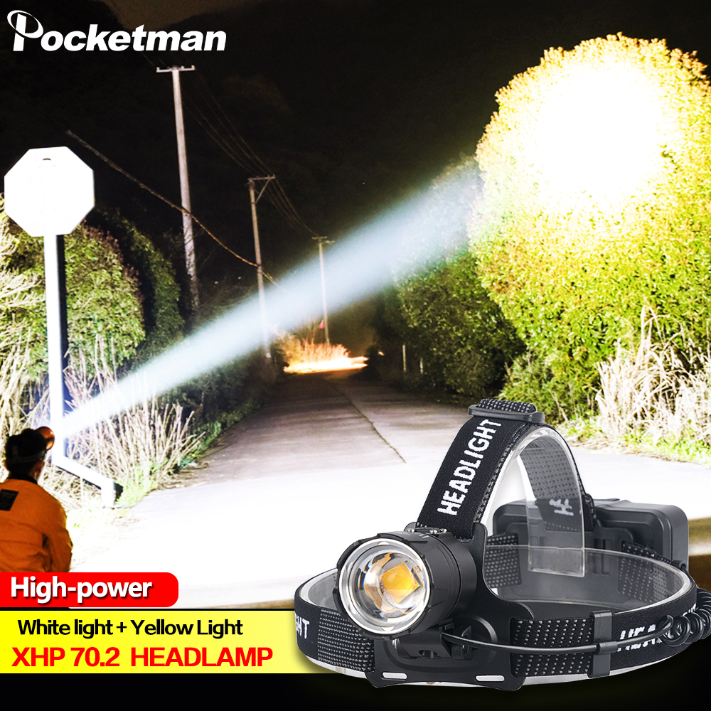 Brightest  XHP70.2 Led Headlamp XHP70 Yellow White  Headlight Fishing Camping Zoom USB Rechargeable Torch Use 3*18650 Batteries