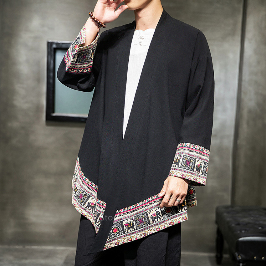 Japanese Traditional Clothes For Men Male Fashion Streetwear Kimono Vintage Haori Cardigan Irregular Printed Warrior Coat Kaftan