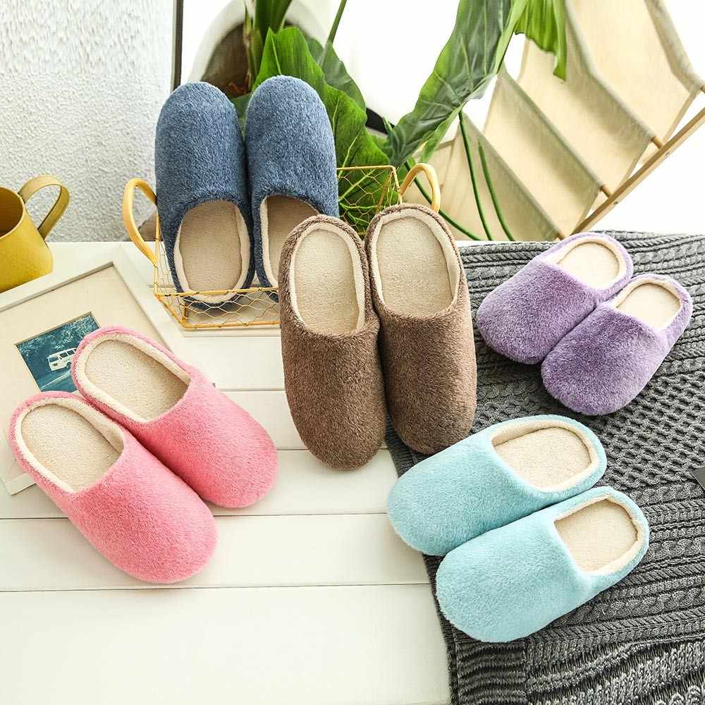 2019 Women Shoes For Bedroom Indoor House Slipper Soft Plush Cotton Cute Slippers Shoes Non-Slip Floor Home Furry Slippers #P