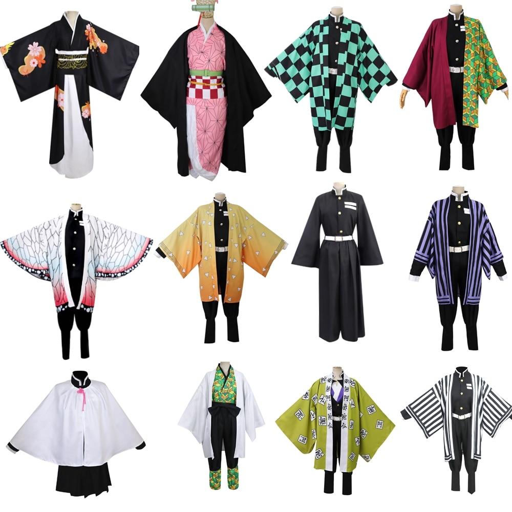 Anime Kimetsu no Yaiba Demon Slayer Cosplay Costume Kamado Tanjirou Nezuko Agatsuma Zenitsu Dress Uniform Gradient Full Set