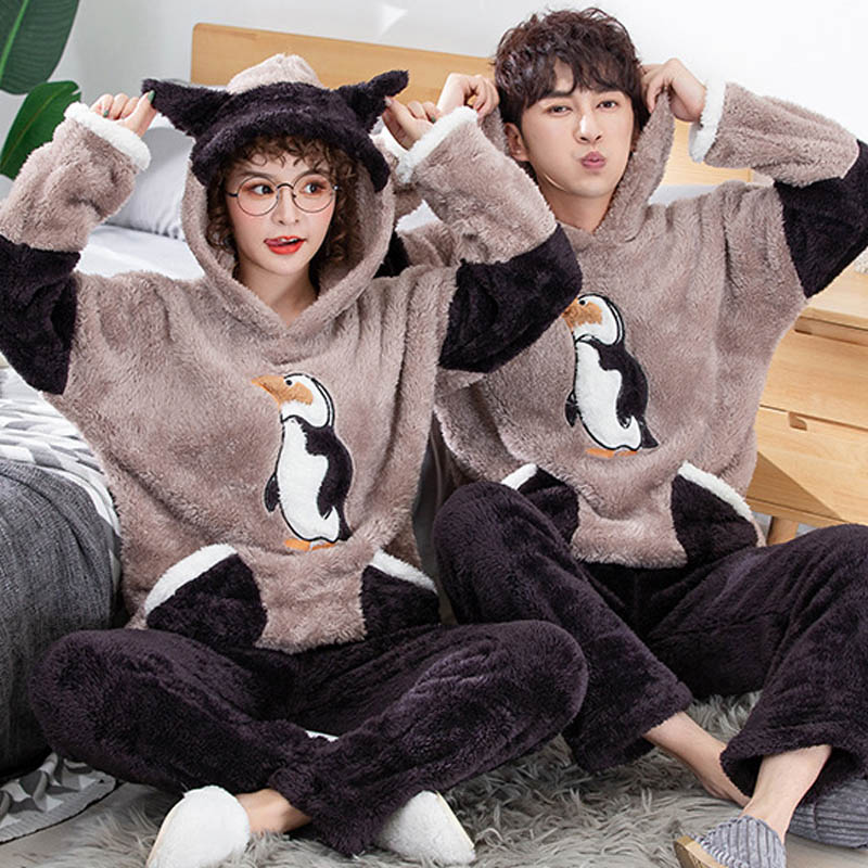 Adult Unisex Couple Pajamas Thickening Warm Winter Men Home Clothes Hooded Pajamas Sets 2 Pieces Cute Cartoon Male Sleepwear