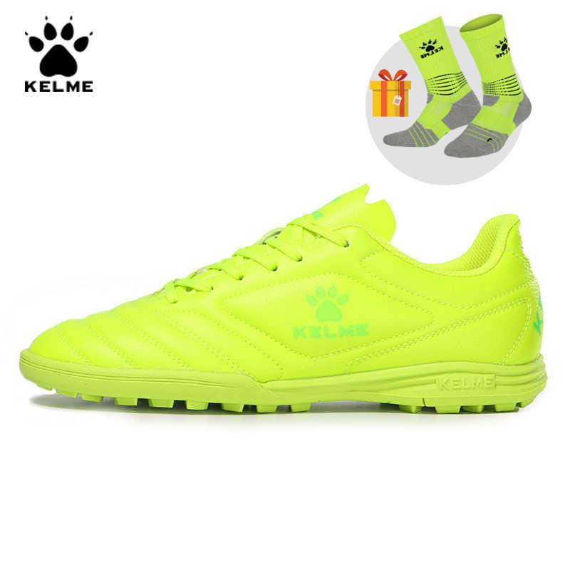KELME professionnel Futsal Football bottes chaussures de Football Original crampons TF Fluorescent jaune baskets hommes Football Futsals 871701