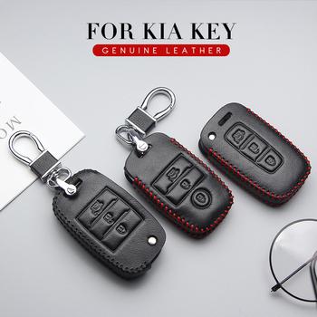 Wysokiej jakości skórzane etui na klucze pokrowiec do Kia Ceed Sportage Rio 3 4 Picanto Sorento Borrego kluczyki skórzane etui Car Styling tanie i dobre opinie 杰龙波 CN (pochodzenie) Górna warstwa skóry AOO027 Black Line Red Line Car Key Case Cover For KIA key
