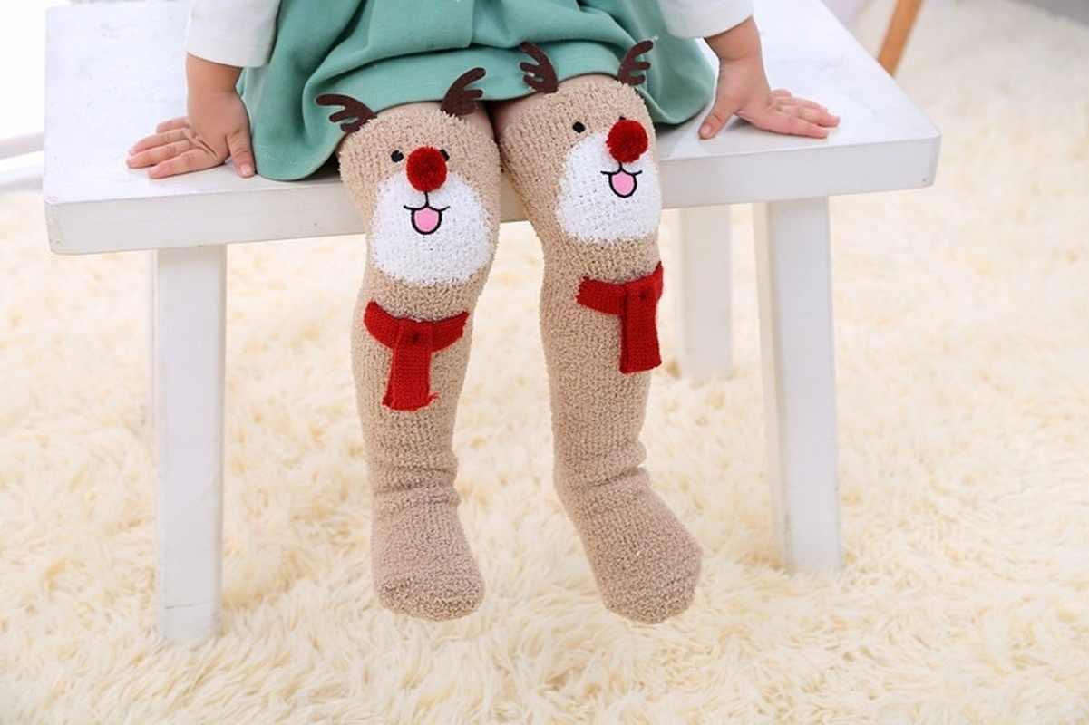 1 çift noel geyik kalınlaşmış kat çorap uyluk çorap bebek uyku