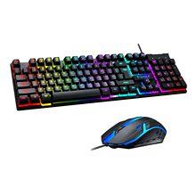Tf200 usb wired gaming keyboard padrão 104 teclas ergonômico teclado multimídia arco-íris retroiluminação led para computador pc/desktop