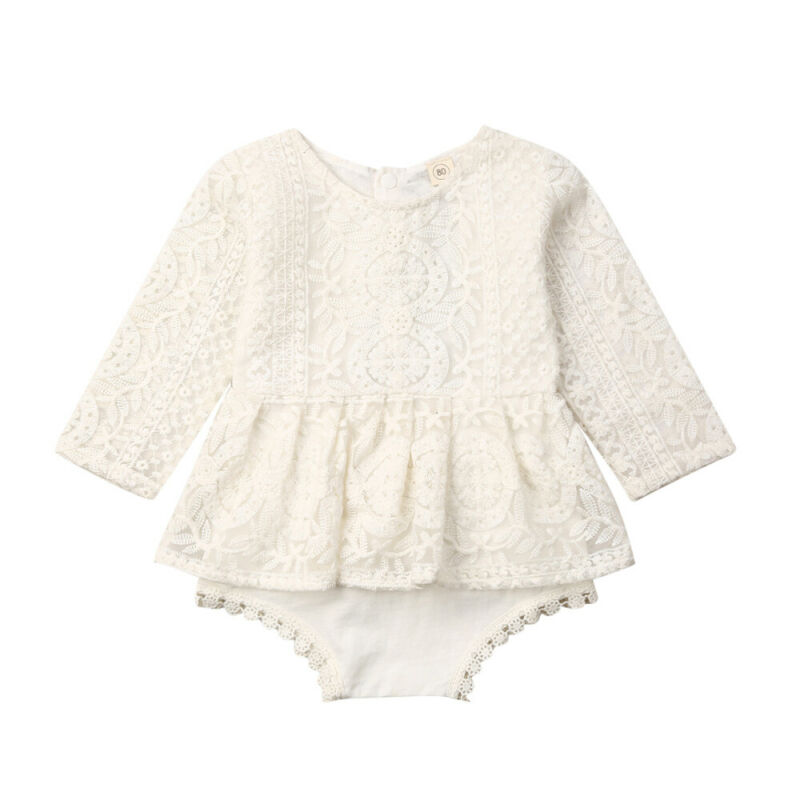 Newborn Baby Girls Floral Lace Bodysuit Toddler Mesh Dress Jumpsuit One-Piece Outfits Infant Baby Casual Clothes 0-24M