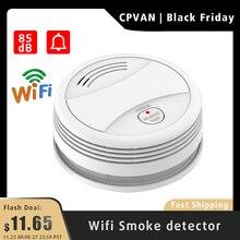 CPVan détecteur de fumée, alarme incendie WiFi, alarme incendie compatible avec lapplication Tuya/Smart Life, capteur de fumée, haute sensibilité, batterie basse