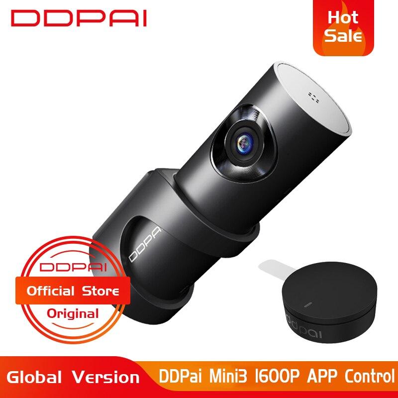 Versão global ddpai mini3 traço cam dvr inglês idioma 32 gb 1600 p hd câmera de gravação 24 h estacionamento monitor build-in emmc