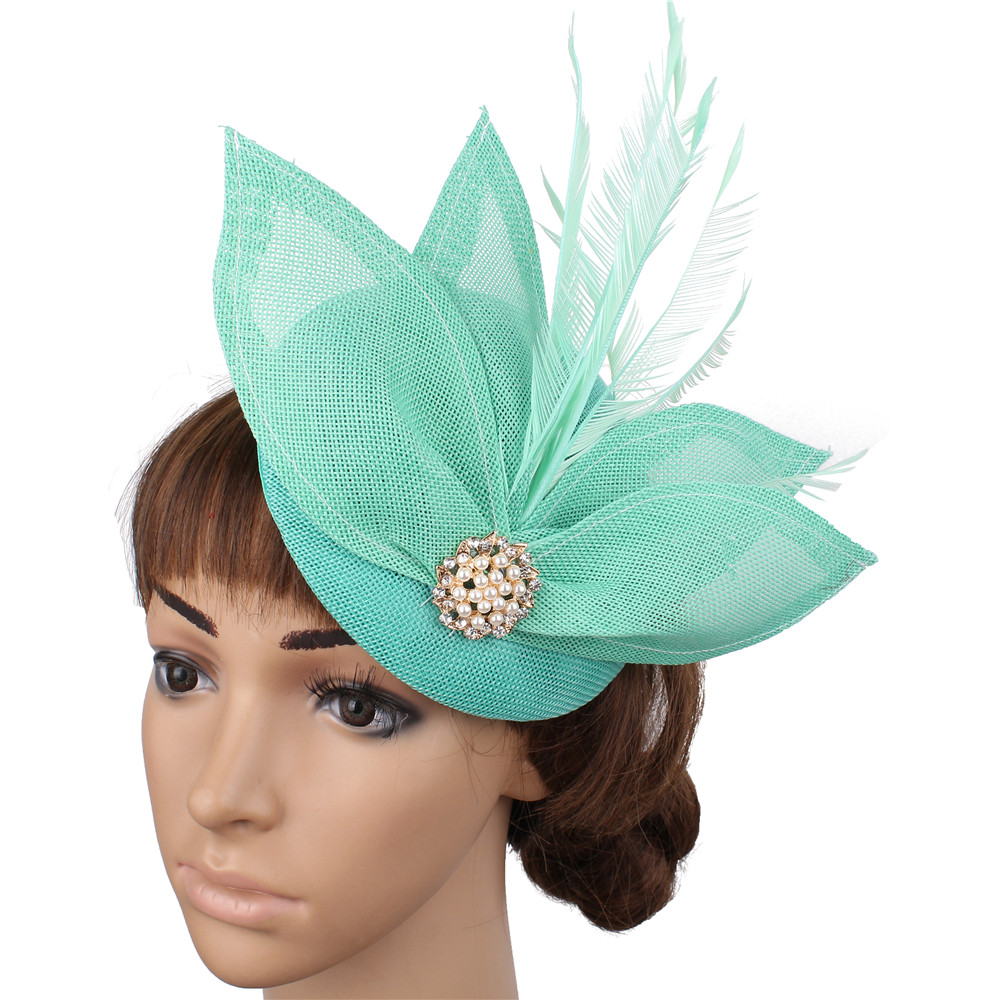 Sea Blue Bridal Imitation Sinamay Fascinators Hats Cocktail Hat Wedding Hair Accessories Women Occasion Hats NEW ARRIVAL 17color