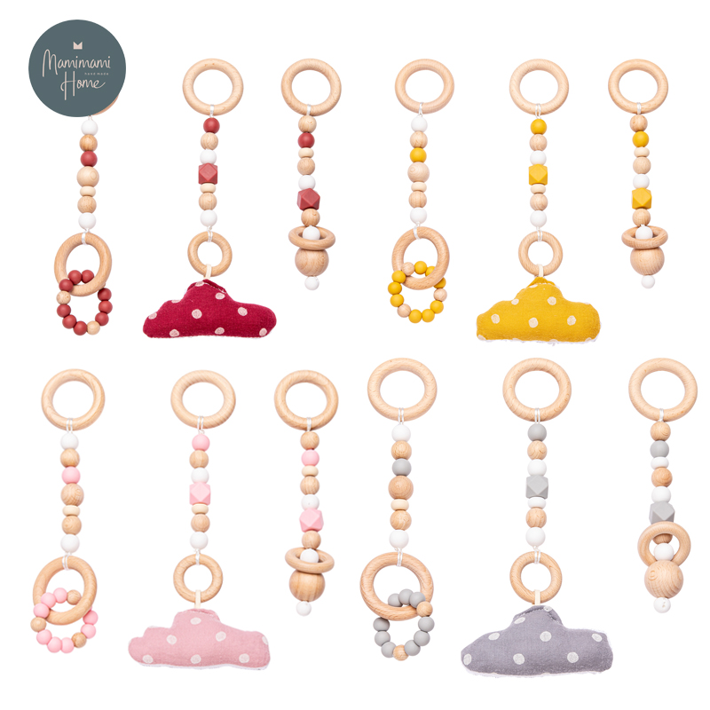 2021 New Cloud Baby Play Gym Frame Wooden Activity Gym Frame Stroller Hanging Pendants Infant Teether Ring Nursing Rattle Toys