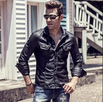 цена Europe and the United States show men's slim leather shirts hair stylist personality motorcycle leather shirts онлайн в 2017 году