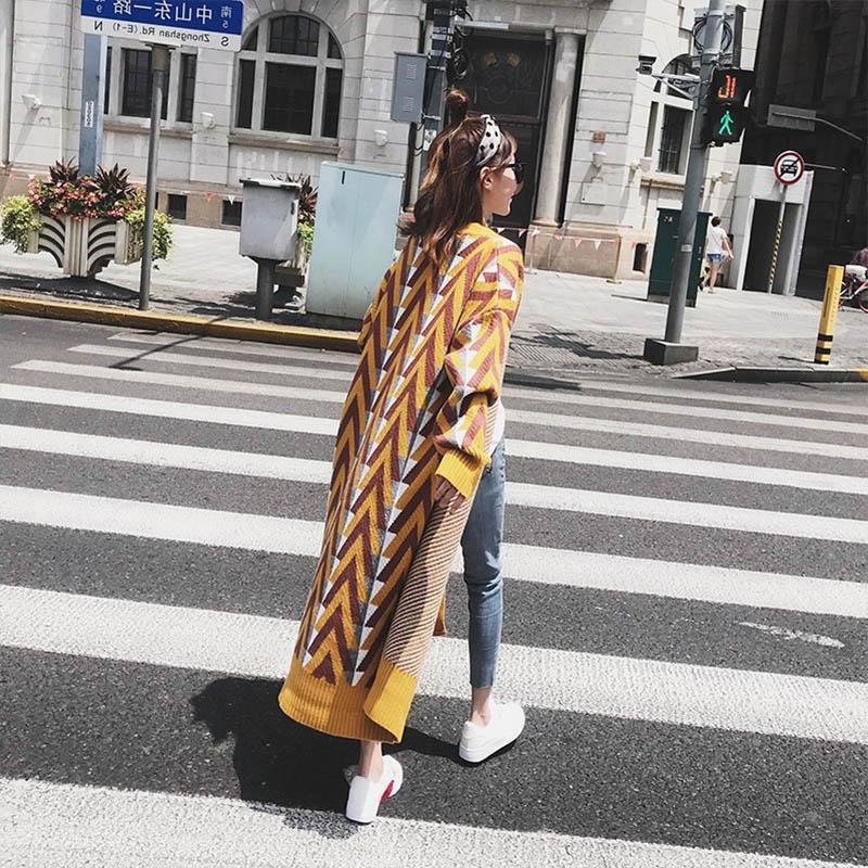 2019 New Autumn Winter Casual Striped Knitting   Trench   Coat Women Street Style Open Stitch Jackt Classic Long Female Windbreaker