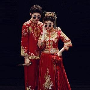 Image 4 - 2019 קידום אונליין שושבינה כלה החדש 2020 שיה פאן Jinxiu Longfeng הקיים חתונה תלבושות בסגנון סיני להינשא