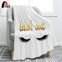 FYMX Modern Chic Flannel Blanket Fun Eyelash Pattern Luxurious and Romantic Reversible Pretty Bedding