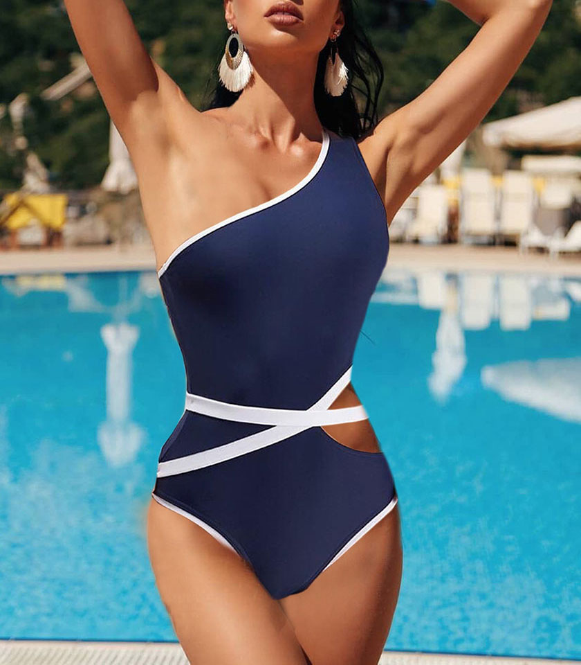 <font><b>sexy</b></font> one shoulder swimwear one piece swimsuit bodysuit solid color belt bikini badpak dames <font><b>costume</b></font> <font><b>da</b></font> <font><b>bagno</b></font> donna fato de banho image