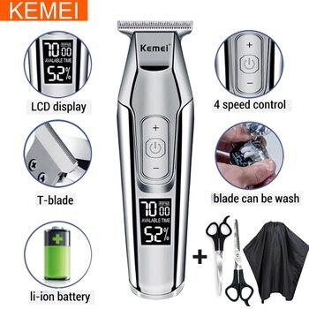 Kemei professional hair clipper beard trimmer men's hair trimmer LCD digital display cordless haircut electric razor 5