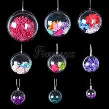 20Pcs Romantische Ontwerp Kerstversiering Bal Transparant Kan Open Plastic Kerst Clear Snuisterij Ornament Gift Present