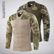 Vaguelette Army MU T Shirt Camouflage Hunting Military Tactical Tshirt Men With Long Sleeve Pockets Multicam Outdoor