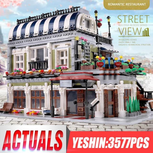 Yeshin moc市ストリートおもちゃ互換レストランクリエイティブおもちゃビルディングブロックの子供クリスマスギフト