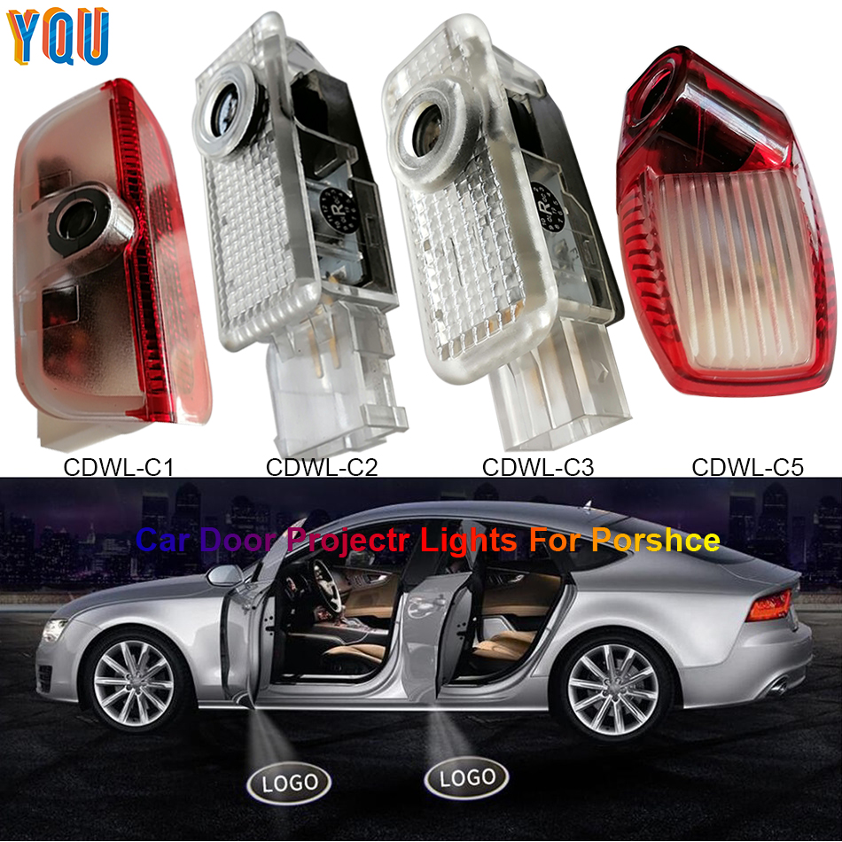 For Porsche Panamera Cayenne 958 Boxster Cayman Macan 911 Auto Car LED Door Projector Lights Luces Para Welcome Logo Light Carro