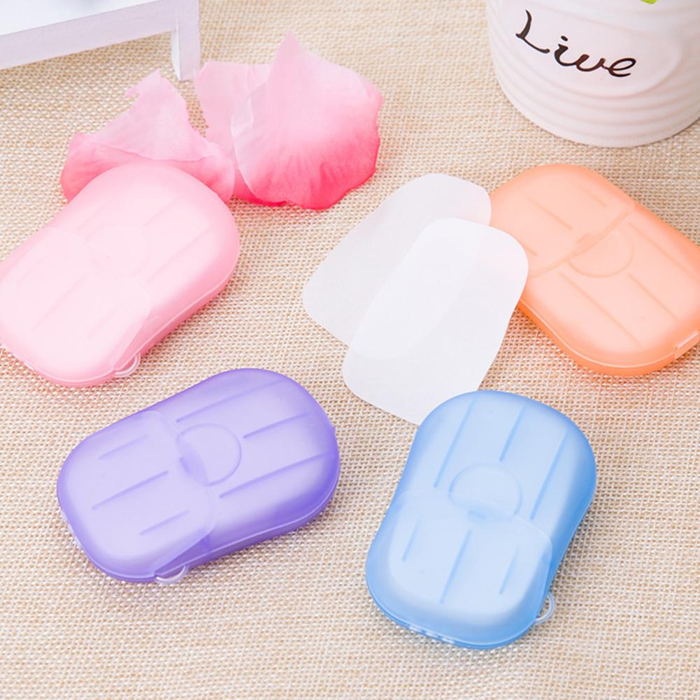 20/box Portable Travel Disposable Soap Paper With Plastic Box Wash Hand Bath Clean Scented Slice Sheets Foaming Soap Case Paper