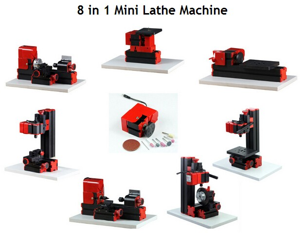 Free Shipping  8 In 1 Mini Lathe Machine For Soft Metal Or Wood Processing Combined Machine Tool Z8000 8 In 1 Normal Type Lathe