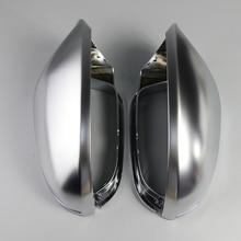 Зеркальный чехол для Audi A6 C7 S6 2012 2013 2014 2015 2018 1 пара, защитная крышка для зеркала заднего вида, Матовая Серебристая хромированная крышка зеркала