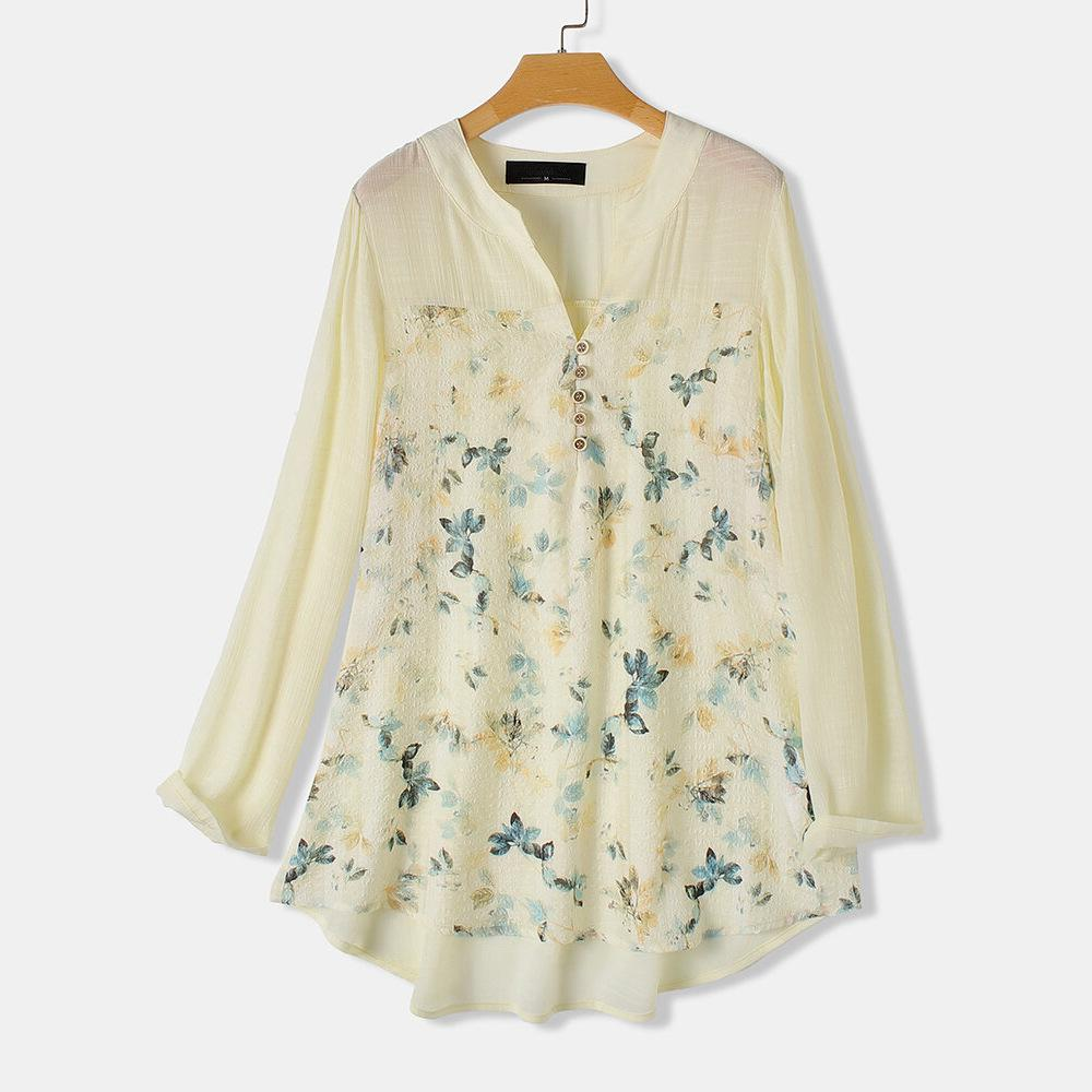 M-5XL 2020 Spring Women Plus Size Floral Print Blouse Casual Loose Cotton Linen V Neck Shirt Summer Large Size Irregular Blouse