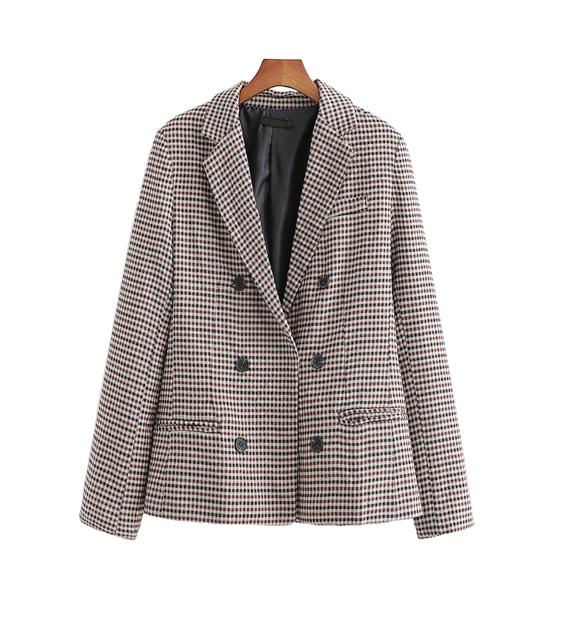 New Vintage Women Plaid Blazer 2020 Fashion Ladies Elegant Double-breasted Suits Coats Female Slim Jacket Girls Chic Clothes