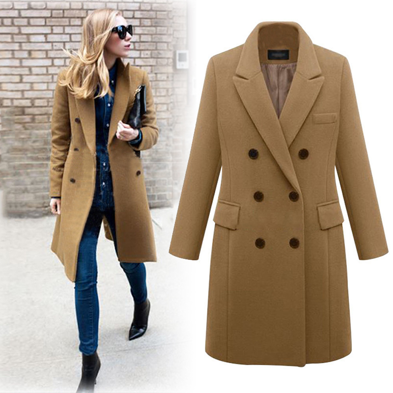 Autumn Winter Coat Women Long   Trench   Coats Plus Size Female Elegant   Trench   Blazers Vintage Wool Ladies khaki Casual Overcoats