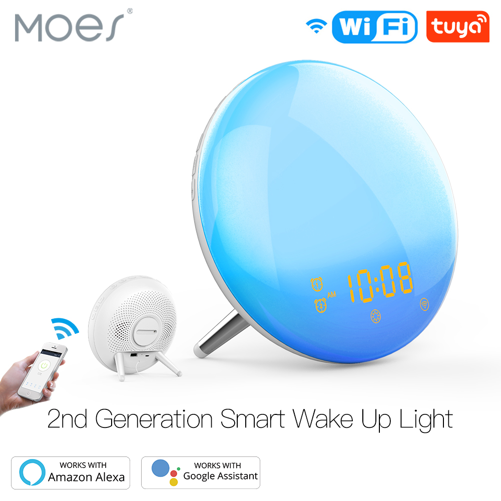 WiFi Smart Wake Up Light Workday Alarm Clock With 7 Colors Sunrise/Sunset Simulation 4 Alarms Compatible With Alexa Google Home
