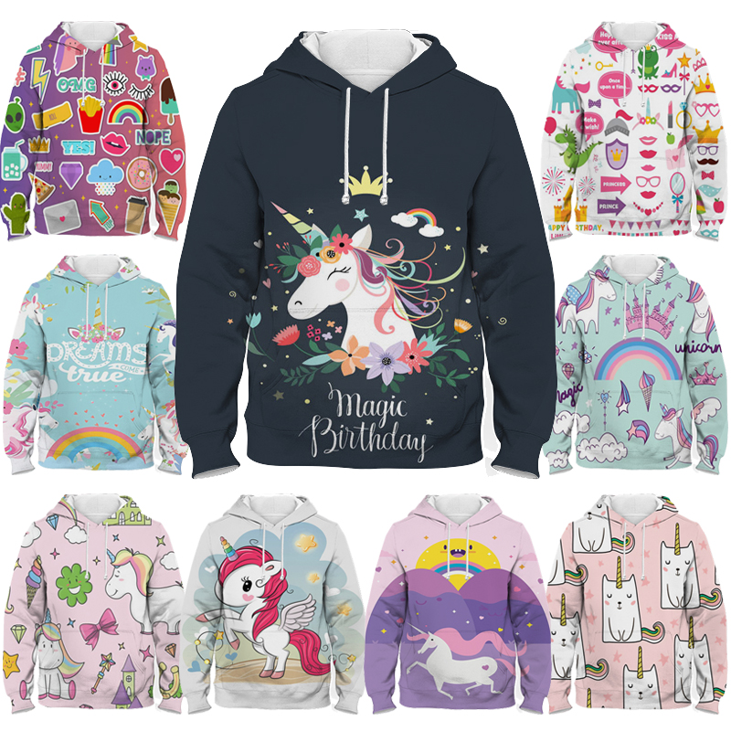 Boys girls 3d print dab unicorn hoodie children cartoon sweatshirt