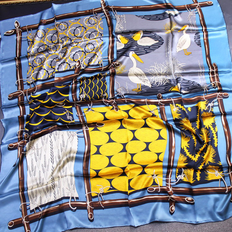 KMS Traveling wild pelican silk square scarf silk thick plain crepe satin ladies silk scarf shawl 140*140CM/95G