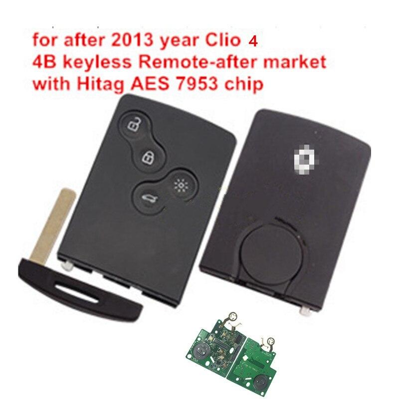 Умный Автомобильный ключ, 4 кнопки, дистанционный ключ без ключа, чип hitag AES pcf7953 434 МГц для renault Clio 4 после 2013