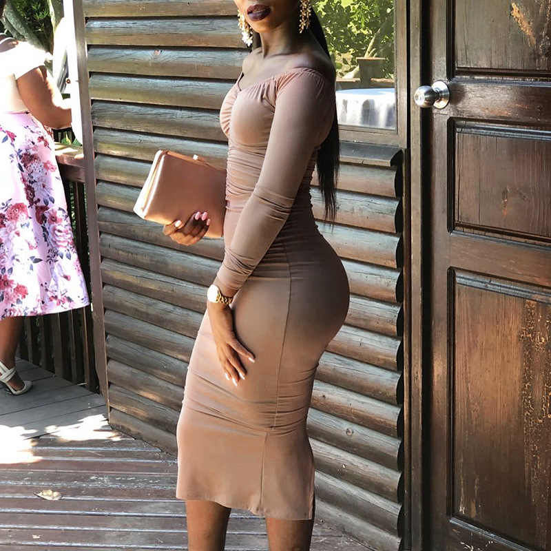Женское облегающее платье с криптографическим разрезом, 2019, сексуальные платья с открытой спиной и рюшами, модные платья миди с длинным рукавом, Осенние новые